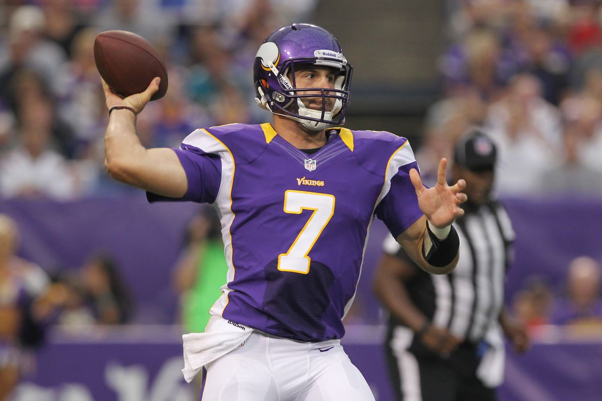 Christian Ponder looked poised, and in control towards the end of Sunday's game against Jacksonville.  Mandatory Credit: Brace Hemmelgarn-US PRESSWIRE