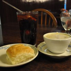 The Bluebird features homemade rolls, soup and specialty fountain drinks such as cherry ironport.