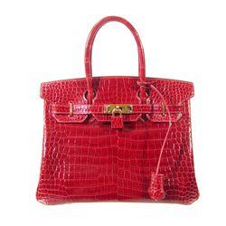 "Hermès 2005 Rouge Crocodile Porosus With Gold Hardware 30cm Birkin Handbag, $52,000. ""Rouge should be every girl's favorite color."""