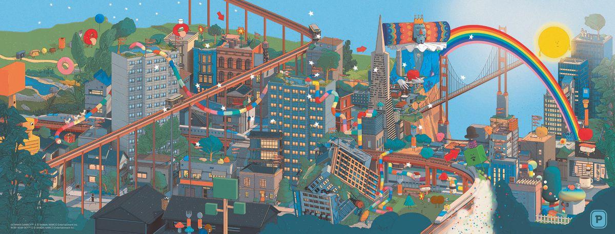 Characters from Katamari Damacy, Noby Noby Boy, and Wattam walk around San Francisco