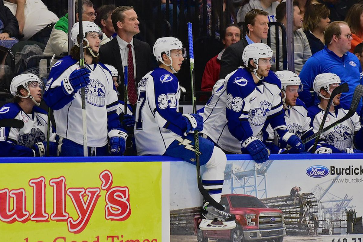 Syracuse Crunch Head Coach Rob Zettler and Assistant Coach Trent Cull behind the bench against the Hartford Wolf Pack in American Hockey League (AHL) action at the War Memorial Arena in Syracuse, New York on Friday, October 23, 2015. Hartford won 4-3