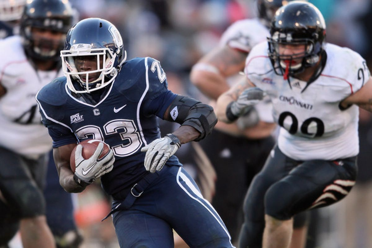 Jordan Todman (23) of the Connecticut Huskies.  (Photo by Elsa/Getty Images)