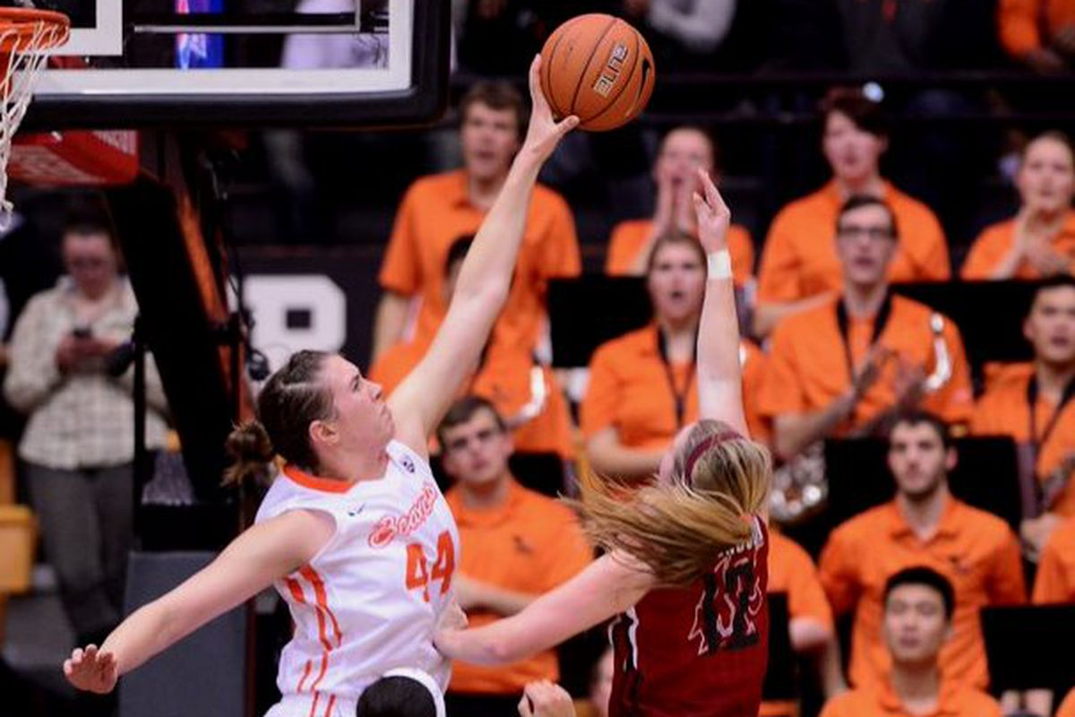 Ruth Hamblin and Oregon State will try to swat away today's challenger in the first round of the NCAA Tournament.