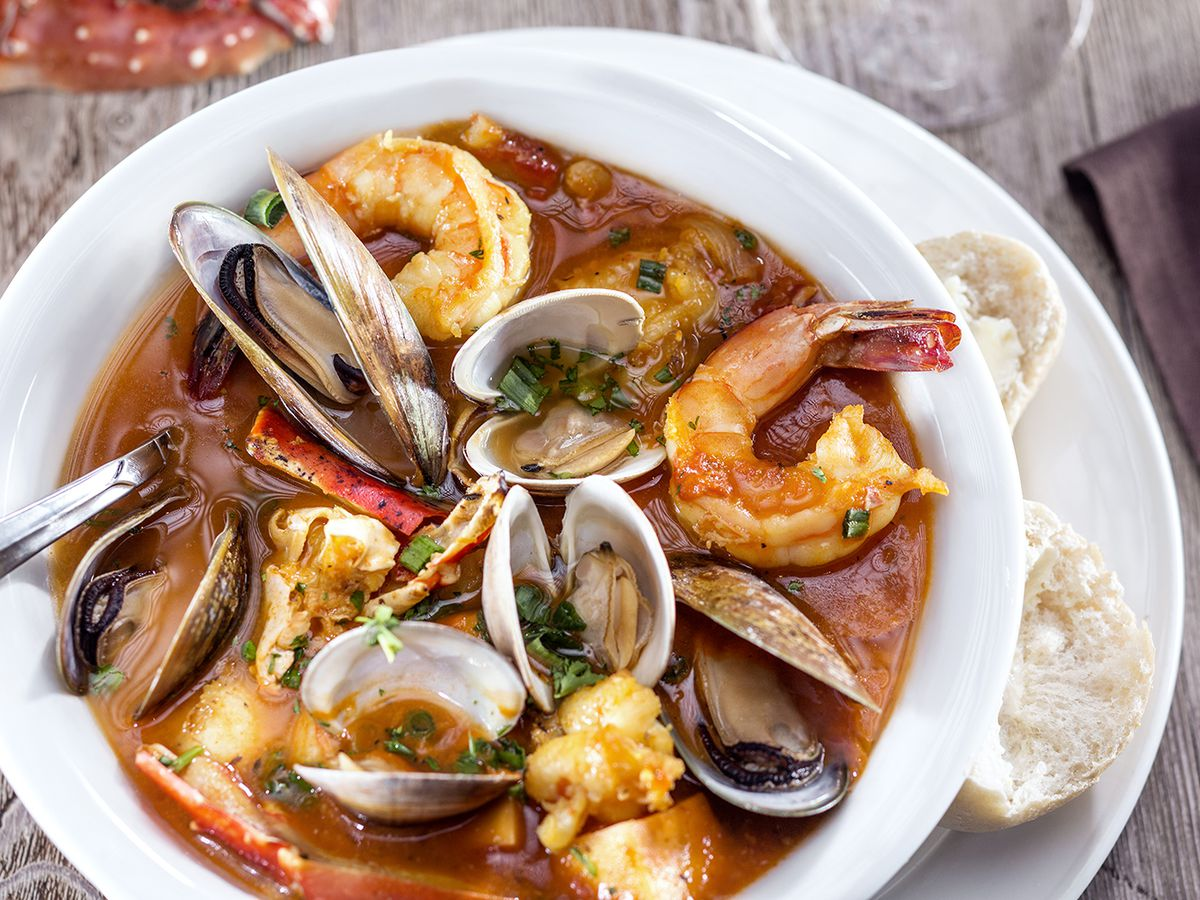 A seafood dish with clams, shrimp