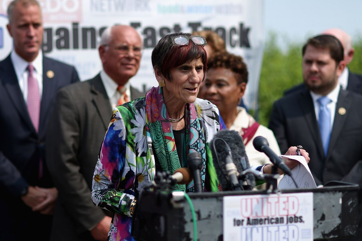 Led by Rep. Rosa DeLauro (D-CT) (C), Democratic members of Congress hold a news conference to voice their opposition to the Trans-Pacific Partnership trade deal at the U.S. Capitol June 10, 2015 in Washington, DC.