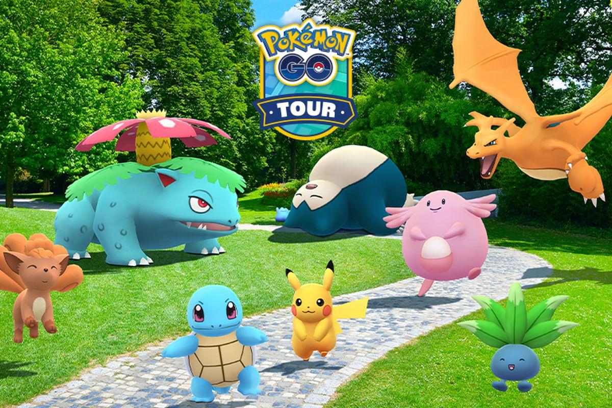 Kanto region Pokémon celebrate in a park