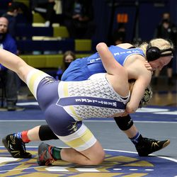 Brooklyn Sariah Hays of Pleasant Grove takes down Megan Allred of Westlake in class 145 as girls compete for the 6A State Wrestling championship at West Lake High in Saratoga Springs on Monday, Feb. 15, 2021. Hays won the match.