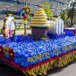 The Bennion Utah West Stake float is pictured during the Days of '47 Union Pacific Railroad Youth Parade held Saturday, July 18, 2015, in Salt Lake City.