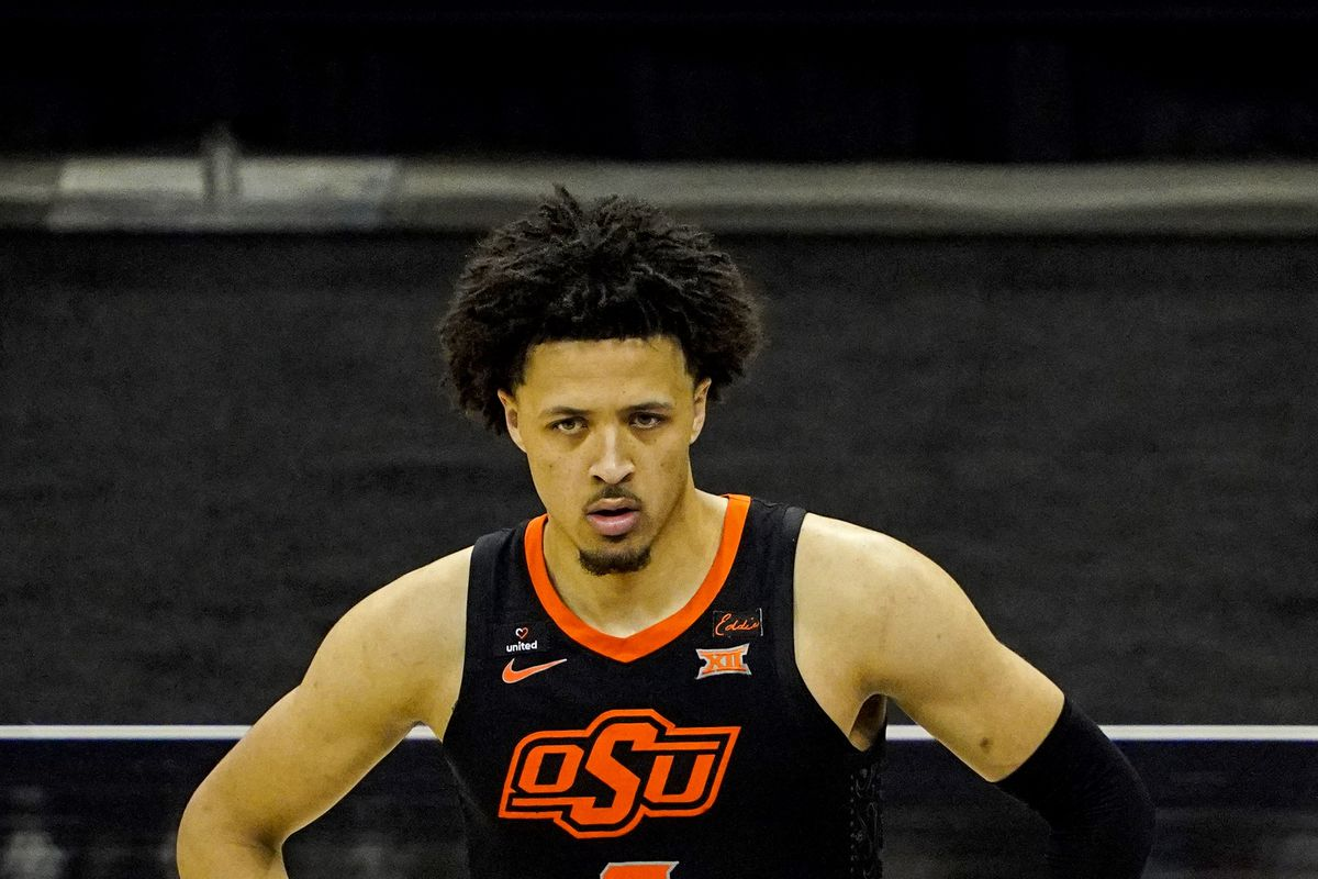 Oklahoma State Cowboys guard Cade Cunningham during the second half against the Texas Longhorns at T-Mobile Center.