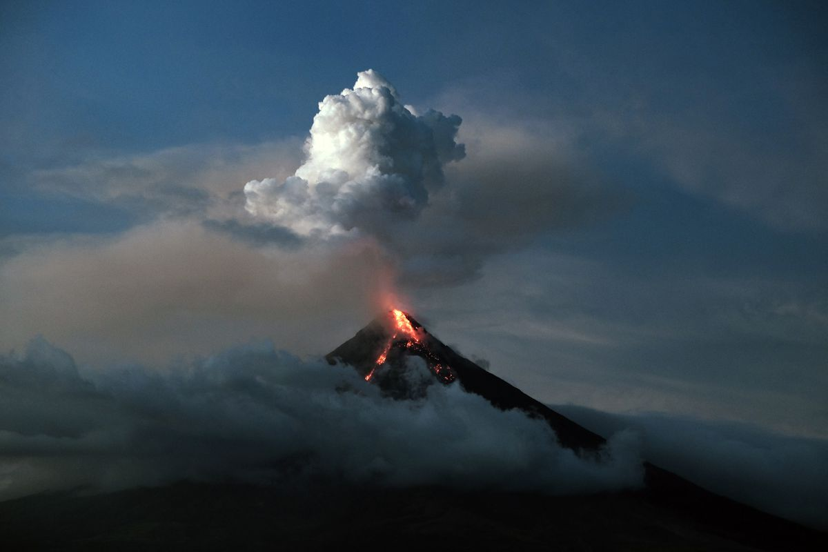 Mount Mayon in the Philippines erupting in January 2018