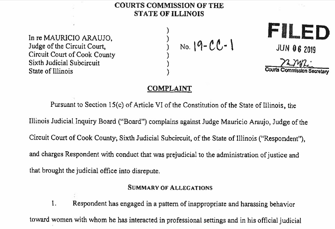 """The Illinois Judicial Inquiry Board's June 2019 complaint against Cook County Circuit Judge Mauricio Araujo accused him of having """"engaged in a pattern of inappropriate and harassing behavior toward women."""""""