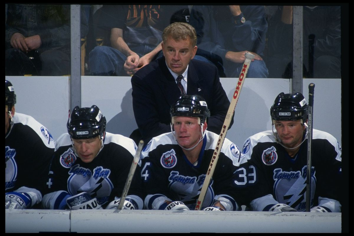 Head coach Terry Crisp oversees his players on October 12, 1992. This was taken in Buffalo. Dark uniforms used to be worn on the road. Times certainly have changed.