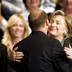 Sen. Hillary Clinton, D-N.Y., right, is greeted by former Utah Democratic Party Chairman Donald Dunn as she arrives to speak in West Valley City. Clinton was in Utah to campaign for Democratic presidential candidate Sen. Barack Obama, D-Ill., and speak at a fundraiser for the Utah Democratic Party at the Utah Cultural Celebration Center on Saturday.