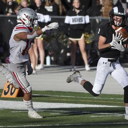 Spanish Fork and Highland compete in a high school 5A first-round playoff game at Highland High School in Salt Lake City on Friday, Oct. 23, 2020.