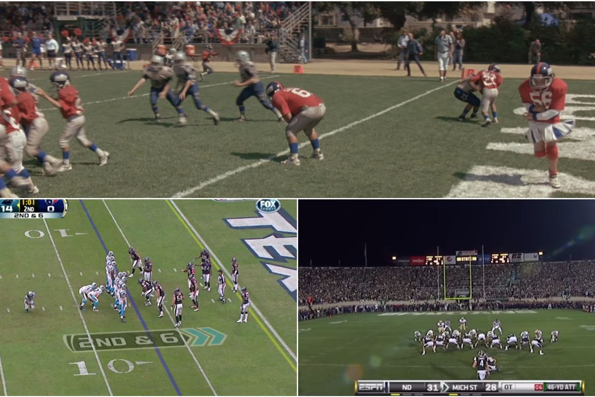 """A collage of trick plays from the movie """"Little Giants,"""" a Panthers-Texans game, and a Michigan State-Notre Dame game"""