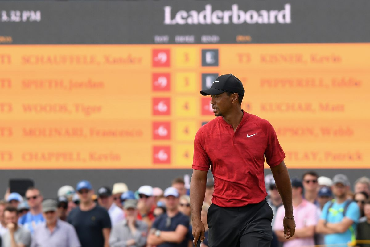 tiger woods is charging up the british open leaderboard on