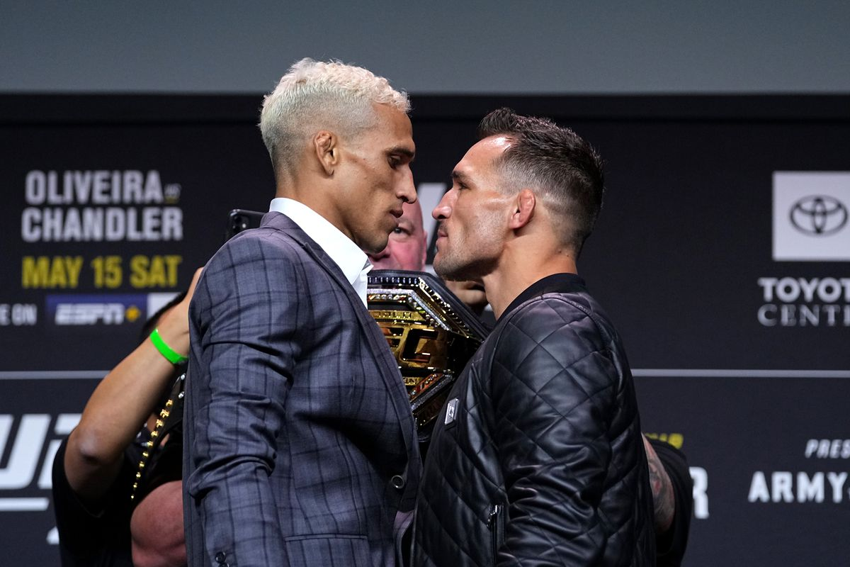 Charles Oliveira and Michael Chandler at UFC 262 fight week