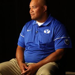 'Ilaisa Tuiaki, BYU defensive coordinator and defensive line coach, is interviewed during BYU Football Media Day at BYU Broadcasting in Provo on Friday, June 23, 2017.