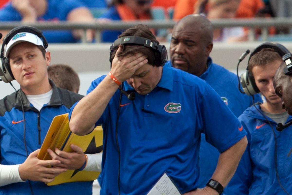 EITHER WILL MUSCHAMP IS FRUSTRATED WITH HIS OFFENSE AGAIN OR HE JUST REMEMBERED HE LEFT THE BATHTUB RUNNING AT HOME.