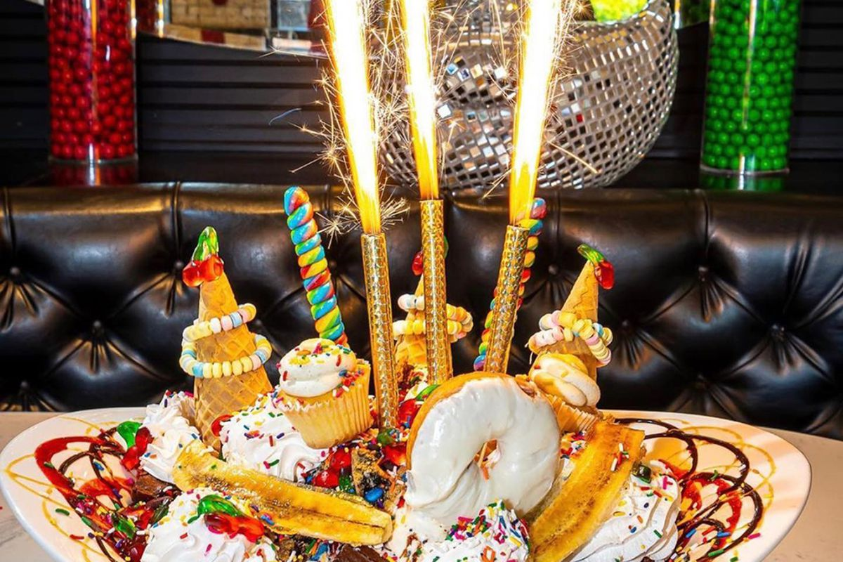 One of the huge, decadent desserts that remain a staple of the Sugar Factory restaurant chain experience.