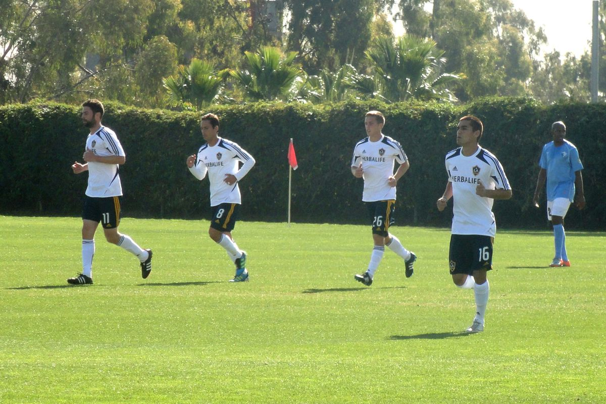 Pat Noonan, Marcelo Sarvas, Michael Stephens, and Hector Jimenez jogging back after an LA Galaxy goal. Photo credit: Eli O'Connor for LAG Confidential.