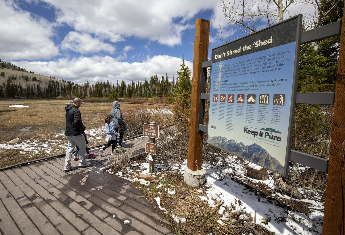 """A family begins a walk on the boardwalk at Silver Lake in Big Cottonwood Canyon on Monday, May 24, 2021. Salt Lake City is relaunching the """"Keep It Pure"""" initiative to raise awareness about keeping watersheds clean."""