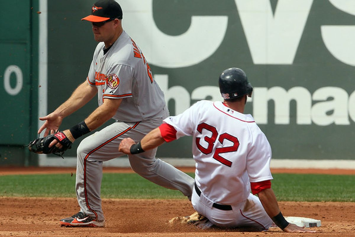 I had to go back to April 2010 to find a picture of Wigginton fielding a ball clean. Take a look at the future!  (Photo by Jim Rogash/Getty Images)