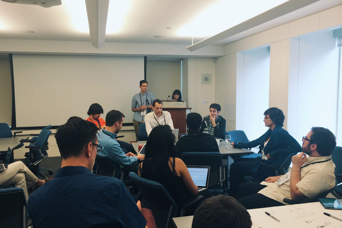 """The """"Art Directing Posts Sustainably"""" session at SRCCON."""