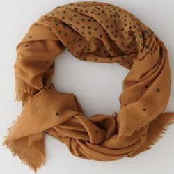 """<b>Pomandere</b> Dot Gauze Scarf in Gold, <a href=""""http://www.stevenalan.com/on/demandware.store/Sites-stevenalan-Site/default/Product-Show?pid=F13_NA_F13-132-157%2f33&dwvar_F13__NA__F13-132-157%2f33_color=GOLD#cgid=womens-shoes-and-accessories-hats-glove"""