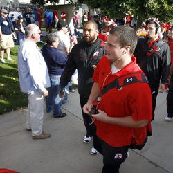 Utah players walk into the stadium as they get set to lay BYU Saturday, Sept. 17, 2011 at Lavell Edwards Stadium.