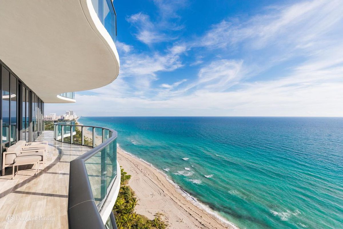Oceanfront view from a brand new sunny isles penthouse