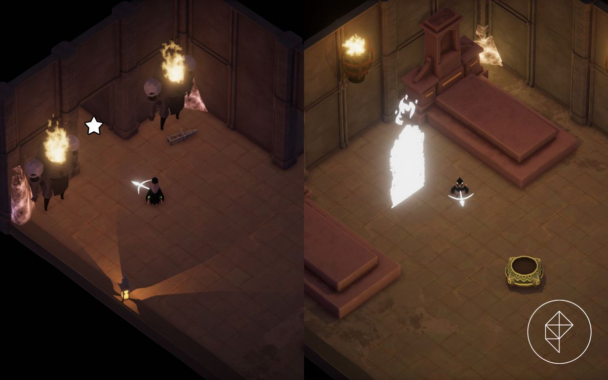 A side-by-side screenshot showing when entryway to go into to access a fire skill upgrade