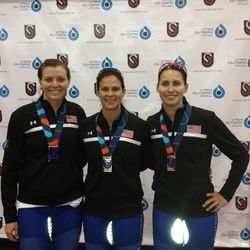 Left to right: Heather Richardson (second place), Brittany Bowe (500-meter and 1000-meter champion), and Laure Cholewinski (third place).