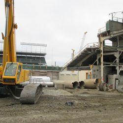 View of equipment near the center-field bleachers