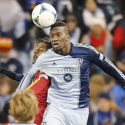Kansas City's C.J. Sapong and Real's Lovel Palmer head the ball as Real Salt Lake and Sporting KC play Saturday, Dec. 7, 2013 in MLS Cup action. Sporting KC won in a shootout.