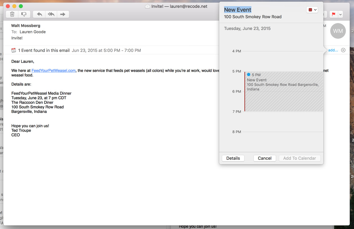 Data detectors in Mail aren't new, but now event information appears just below the subject line.