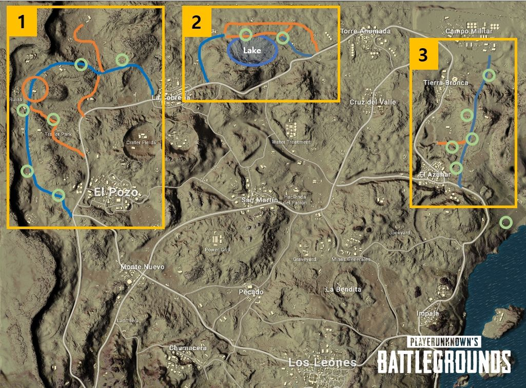 Alterations to PUBG's Miramar map, detailed by the developers in a Steam post on 4/11/2018.