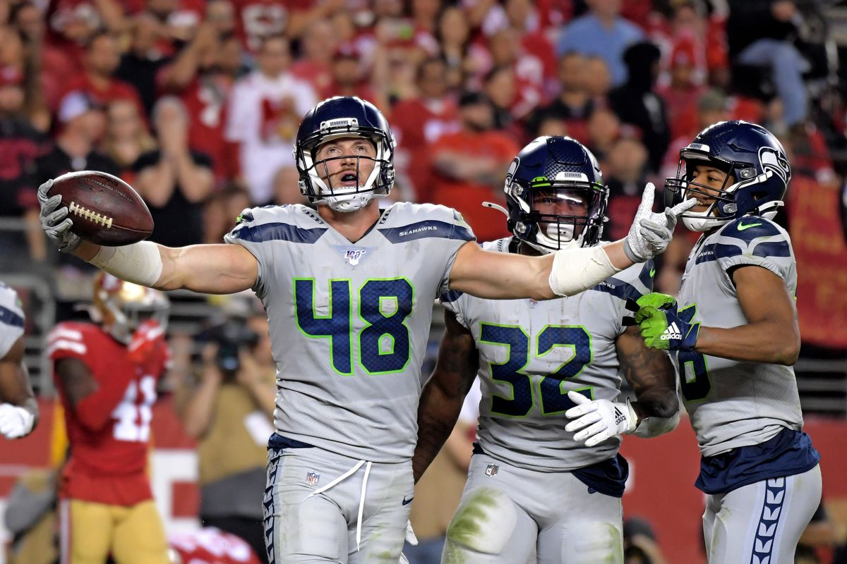 Seattle Seahawks tight end Jacob Hollister celebrates after recovering a fumble during the second half San Francisco 49ers at Levi's Stadium.