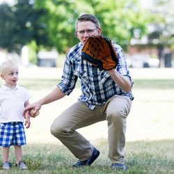 Alex Jensen plays with his son Luke Jensen, 2, at Edgemont South Stake Park in Provo on Tuesday, May 30, 2017.
