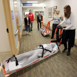 Nurse manager Vicki Maness and nurse Pam Jensen evacuate mock patients at Intermountain Medical Center during The Great Utah ShakeOut in Salt Lake County  Tuesday, April 17, 2012. This is the  largest earthquake drill ever conducted in Utah history.