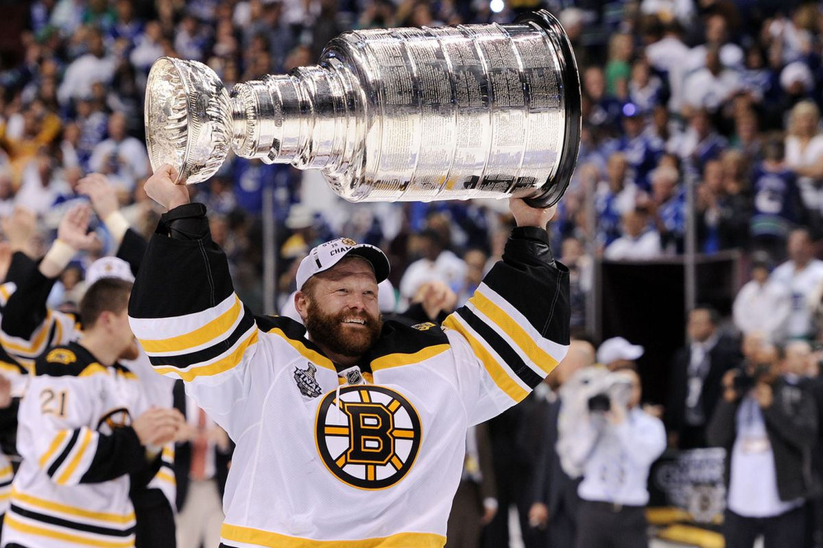The trophy above Tim Thomas' head is his legacy as a member of the Boston Bruins