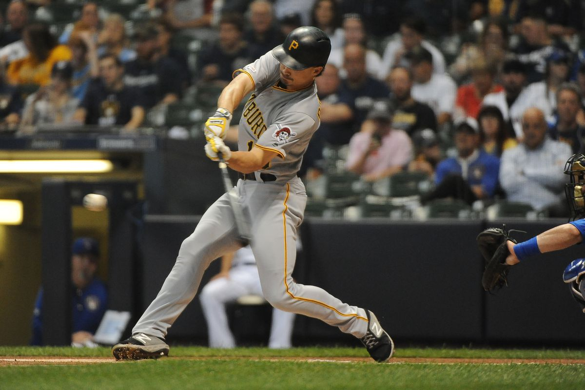 Pittsburgh Pirates left fielder Bryan Reynolds hits the ball against the Milwaukee Brewers in the first inning at Miller Park.