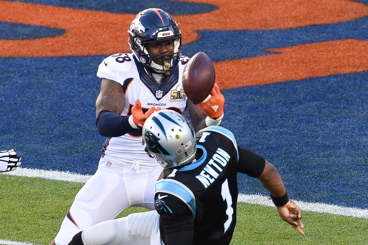 Super Bowl MVP Von Miller forces one of two Cam Newton fumbles