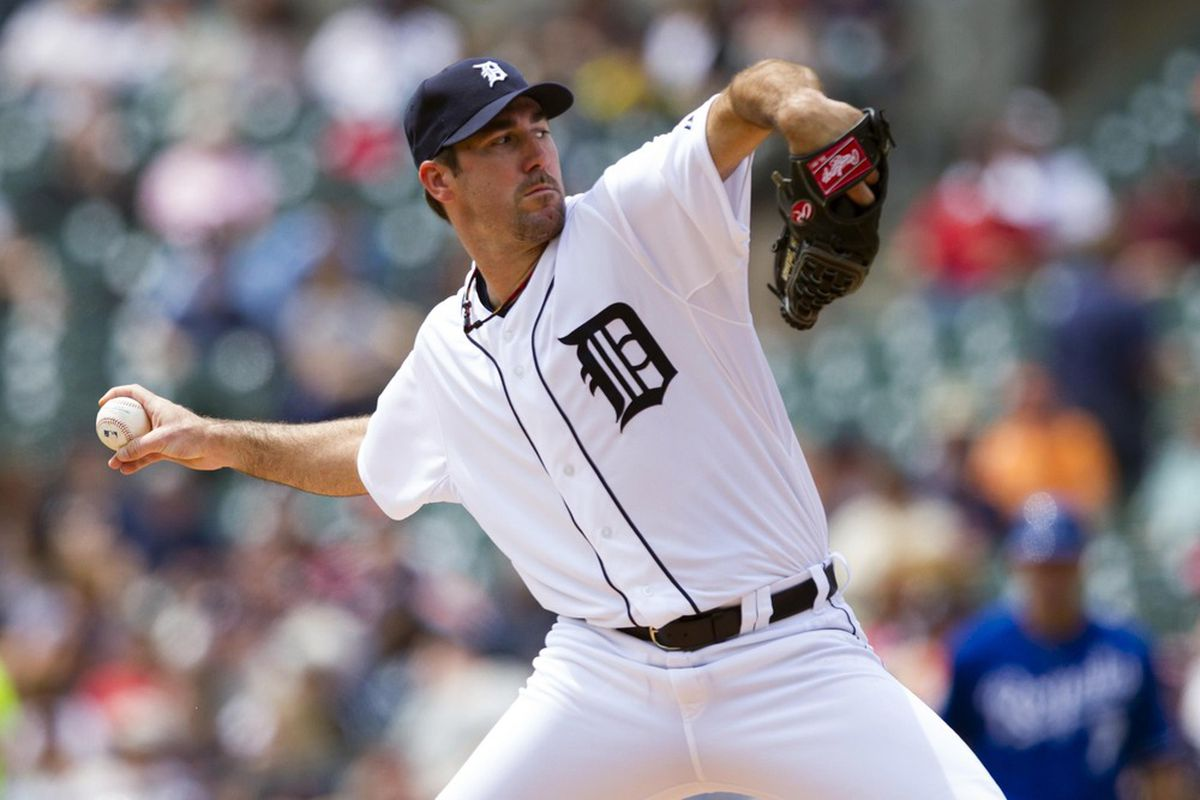 May 2, 2012; Detroit, MI, USA; Detroit Tigers starting pitcher Justin Verlander (35) pitches during the first inning against the Kansas City Royals at Comerica Park.  Mandatory Credit: Rick Osentoski-US PRESSWIRE
