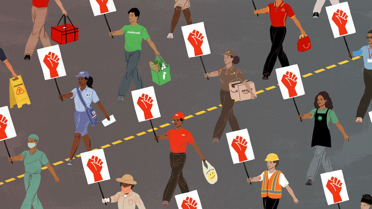 Essential workers — a mailperson, a construction worker, food delivery person, and others — marching while holding signs of raised fists.
