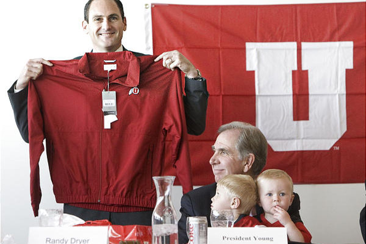 """Larry Scott shows off his new team at a press conference in Utah today. The Utes become the 12th member of the Pac-10 and will begin play in 2011. via <a href=""""http://www.deseretnews.com/photos/midres/3218107.jpg"""">www.deseretnews.com</a>"""