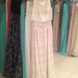 Tiered lace gown, $250