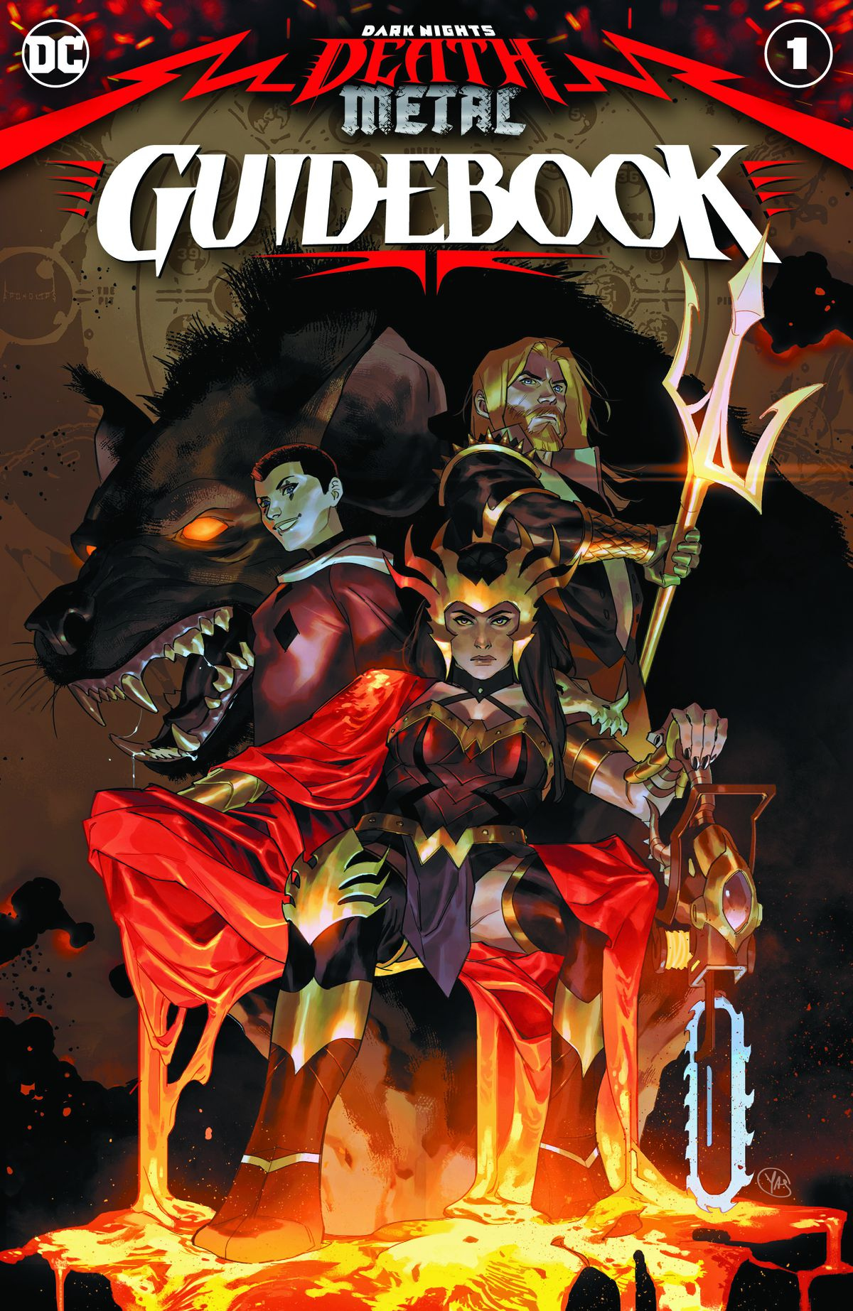 Wonder Woman lounges on a lava throne with her chainsaw, flanked by Aquaman, Harley Quinn, and massive hyena on the cover of Dark Nights: Death Metal Guidebook, DC Comics (2020).