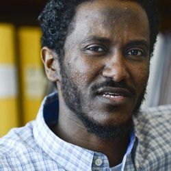 Yonas Fikre, a Portland, Oregon Muslim American talks to media at his lawyer's office in Stockholm, Sweden, April 18, 2012. After a 2010 trip to visit family in Khartoum, Sudan,  Fikre claims to have been detained and tortured. Put on a FBI no-fly list,  Fikre is now unable to return home to the U.S.