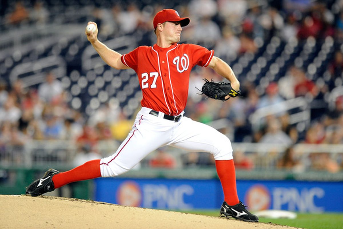WASHINGTON - SEPTEMBER 24:  Jordan Zimmermann #27 of the Washington Nationals pitches against the Atlanta Braves at Nationals Park on September 24 2010 in Washington DC.  (Photo by Greg Fiume/Getty Images)